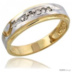 14k Gold Ladies' Diamond Band w/ Rhodium Accent, w/ 0.08 Carat Brilliant Cut Diamonds, 3/16 in. (5mm) wide