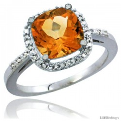 10k White Gold Natural Citrine Ring Cushion-cut 8x8 Stone Diamond Accent