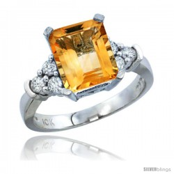 10K White Gold Natural Citrine Ring Emerald-shape 9x7 Stone Diamond Accent
