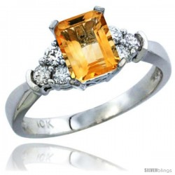 10K White Gold Natural Citrine Ring Emerald-shape 7x5 Stone Diamond Accent
