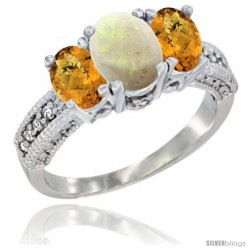 14k White Gold Ladies Oval Natural Opal 3-Stone Ring with Whisky Quartz Sides Diamond Accent