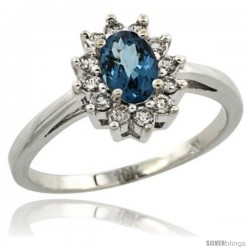 10k White Gold London Blue Topaz Diamond Halo Ring Oval Shape 1.2 Carat 6X4 mm, 1/2 in wide