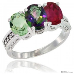 14K White Gold Natural Green Amethyst, Mystic Topaz & Ruby Ring 3-Stone 7x5 mm Oval Diamond Accent