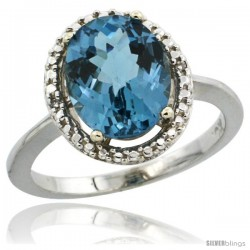 10k White Gold Diamond Halo London-Blue Topaz Ring 2.4 carat Oval shape 10X8 mm, 1/2 in (12.5mm) wide