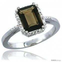 14k White Gold Ladies Natural Smoky Topaz Ring Emerald-shape 8x6 Stone Diamond Accent