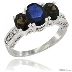 14k White Gold Ladies Oval Natural Blue Sapphire 3-Stone Ring with Smoky Topaz Sides Diamond Accent