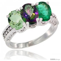 14K White Gold Natural Green Amethyst, Mystic Topaz & Emerald Ring 3-Stone 7x5 mm Oval Diamond Accent