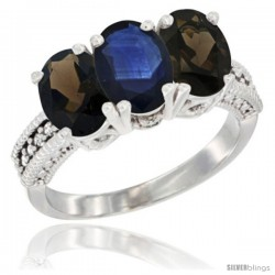 14K White Gold Natural Blue Sapphire & Smoky Topaz Ring 3-Stone 7x5 mm Oval Diamond Accent