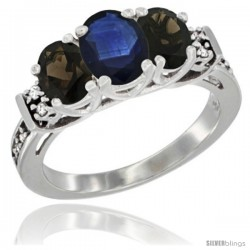 14K White Gold Natural Blue Sapphire & Smoky Topaz Ring 3-Stone Oval with Diamond Accent