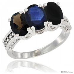 14K White Gold Natural Smoky Topaz, Blue Sapphire & Black Onyx Ring 3-Stone 7x5 mm Oval Diamond Accent