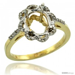 10k Gold Semi-Mount ( 9x7 mm ) Floral Oval Stone Ring w/ 0.107 Carat Brilliant Cut Diamonds, 1/2 in. (13mm) wide