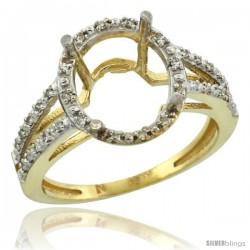 10k Gold Semi-Mount ( 11x9 mm ) Oval Stone Ring w/ 0.105 Carat Brilliant Cut Diamonds, 1/2 in. (13mm) wide