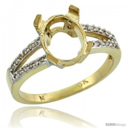 10k Gold Semi-Mount ( 10x8 mm ) Oval Stone Ring w/ 0.107 Carat Brilliant Cut Diamonds, 3/8 in. (10mm) wide