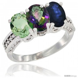 14K White Gold Natural Green Amethyst, Mystic Topaz & Blue Sapphire Ring 3-Stone 7x5 mm Oval Diamond Accent