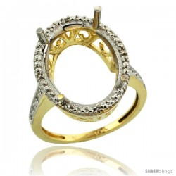 10k Gold Semi-Mount ( 18x13 mm ) Large Oval Stone Ring w/ 0.04 Carat Brilliant Cut Diamonds, 13/16 in. (21mm) wide