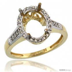 10k Gold Semi-Mount ( 10x8 mm ) Oval Stone Ring w/ 0.107 Carat Brilliant Cut Diamonds, 1/2 in. (12.5mm) wide