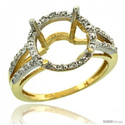 10k Gold Semi-Mount ( 11 mm ) Large Round Stone Ring w/ 0.107 Carat Brilliant Cut Diamonds, 1/2 in. (12.5mm) wide