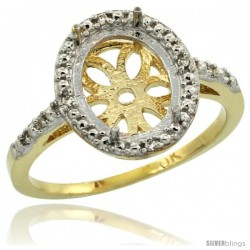 10k Gold Semi-Mount ( 10x8 mm ) Oval Stone Ring w/ 0.027 Carat Brilliant Cut Diamonds, 1/2 in. (13mm) wide