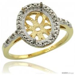 10k Gold Semi-Mount ( 10x8 mm ) Oval Stone Ring w/ 0.027 Carat Brilliant Cut Diamonds, 1/2 in. (13mm) wide