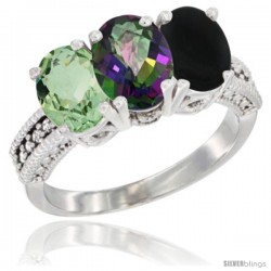 14K White Gold Natural Green Amethyst, Mystic Topaz & Black Onyx Ring 3-Stone 7x5 mm Oval Diamond Accent