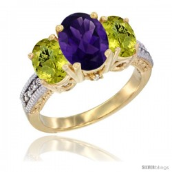 14K Yellow Gold Ladies 3-Stone Oval Natural Amethyst Ring with Lemon Quartz Sides Diamond Accent