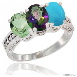 14K White Gold Natural Green Amethyst, Mystic Topaz & Turquoise Ring 3-Stone 7x5 mm Oval Diamond Accent