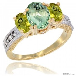 14k Yellow Gold Ladies Oval Natural Green Amethyst 3-Stone Ring with Lemon Quartz Sides Diamond Accent