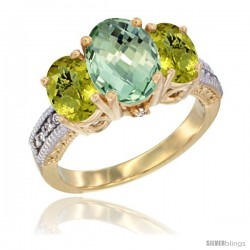 14K Yellow Gold Ladies 3-Stone Oval Natural Green Amethyst Ring with Lemon Quartz Sides Diamond Accent