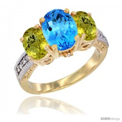 14K Yellow Gold Ladies 3-Stone Oval Natural Swiss Blue Topaz Ring with Lemon Quartz Sides Diamond Accent