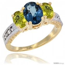 14k Yellow Gold Ladies Oval Natural London Blue Topaz 3-Stone Ring with Lemon Quartz Sides Diamond Accent