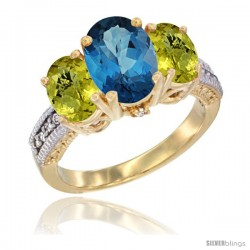 14K Yellow Gold Ladies 3-Stone Oval Natural London Blue Topaz Ring with Lemon Quartz Sides Diamond Accent
