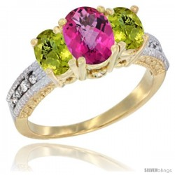 14k Yellow Gold Ladies Oval Natural Pink Topaz 3-Stone Ring with Lemon Quartz Sides Diamond Accent