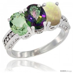 14K White Gold Natural Green Amethyst, Mystic Topaz & Opal Ring 3-Stone 7x5 mm Oval Diamond Accent