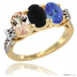 10K Yellow Gold Natural Morganite, Black Onyx & Tanzanite Ring 3-Stone Oval 7x5 mm Diamond Accent