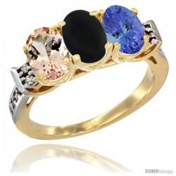 10K Yellow Gold Natural Morganite, Black Onyx & Tanzanite Ring 3-Stone Oval 7x5 mm Diamond Accent
