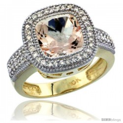 10K Yellow Gold Natural Morganite Ring Diamond Accent, Cushion-cut 9x9 Stone Diamond Accent