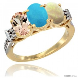 10K Yellow Gold Natural Morganite, Turquoise & Opal Ring 3-Stone Oval 7x5 mm Diamond Accent