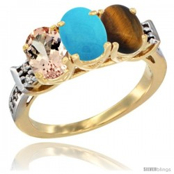 10K Yellow Gold Natural Morganite, Turquoise & Tiger Eye Ring 3-Stone Oval 7x5 mm Diamond Accent