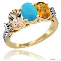 10K Yellow Gold Natural Morganite, Turquoise & Whisky Quartz Ring 3-Stone Oval 7x5 mm Diamond Accent