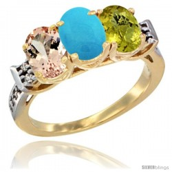10K Yellow Gold Natural Morganite, Turquoise & Lemon Quartz Ring 3-Stone Oval 7x5 mm Diamond Accent