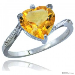 10K White Gold Natural Citrine Ring Heart-shape 9x9 Stone Diamond Accent