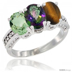 14K White Gold Natural Green Amethyst, Mystic Topaz & Tiger Eye Ring 3-Stone 7x5 mm Oval Diamond Accent