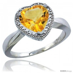 10K White Gold Natural Citrine Ring Heart-shape 8x8 Stone Diamond Accent