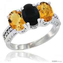 10K White Gold Natural Citrine, Black Onyx & Whisky Quartz Ring 3-Stone Oval 7x5 mm Diamond Accent