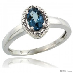 10k White Gold Diamond Halo London Blue Topaz Ring 0.75 Carat Oval Shape 6X4 mm, 3/8 in (9mm) wide