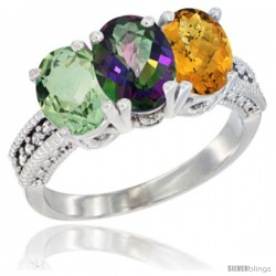 14K White Gold Natural Green Amethyst, Mystic Topaz & Whisky Quartz Ring 3-Stone 7x5 mm Oval Diamond Accent