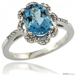 10k White Gold Diamond Halo London Blue Topaz Ring 1.65 Carat Oval Shape 9X7 mm, 7/16 in (11mm) wide