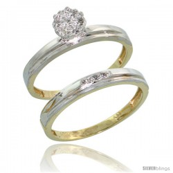 10k Yellow Gold Diamond Engagement Rings Set 2-Piece 0.07 cttw Brilliant Cut, 1/8 in wide -Style 10y006e2