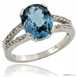 10k White Gold and Diamond Halo London Blue Topaz Ring 2.4 carat Oval shape 10X8 mm, 3/8 in (10mm) wide