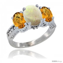 14K White Gold Ladies 3-Stone Oval Natural Opal Ring with Whisky Quartz Sides Diamond Accent